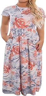 dbe467fb93b Womens Plus Size Maxi Dresses Short Sleeve Causal Summer Floral Plain Loose  T Shirts Long Dress