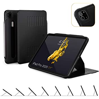 ZUGU CASE (New Model) The Alpha Case for 2020 iPad Pro 11 inch - Ultra Slim Protective Case - Wireless Apple Pencil Charging - Convenient Magnetic Stand & Sleep/Wake Cover (Black)