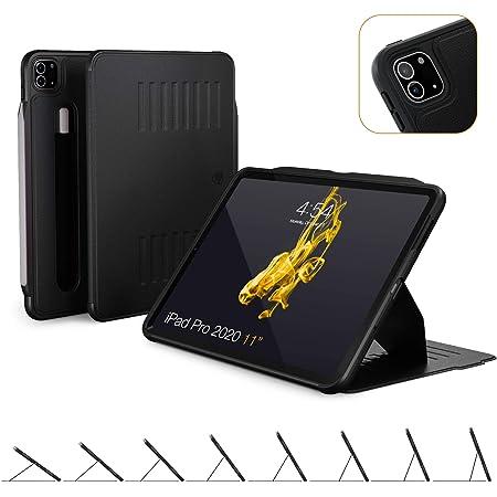 ZUGU iPad Pro 11 ケース 2020 第2世代 The Alpha Case 極薄 落下衝撃保護 8段階スタンド機能 オートスリープ スマートカバー (ipad pro 11インチ 2世代 カバー ブラック)