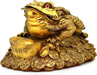 "Large Size Brass Thriving Business Feng Shui Money Frog(Three Legged Wealth Frog or Money Toad) with Golden Ingot Statue, Attract Wealth and Good Luck,Feng Shui Decor, 9.3""(L) x 7.3""(H) x 6.9""(W)"