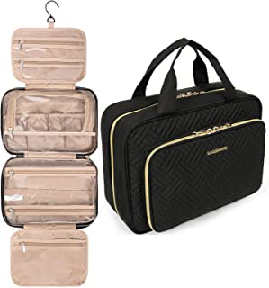BAGSMART Toiletry Bag Hanging Travel Organizer with TSA Approved Transparent Cosmetic Bag and Detachable Makeup Pouch For ...