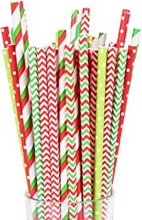 Christmas Paper Straws Bulk Biodegradable Disposable Drinking Red White Green Striped Dot for Party Supplies, 200PCS Straws and 6PCS Stickers