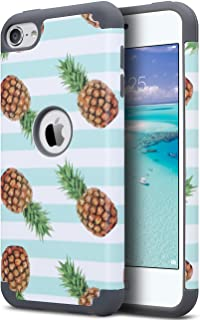 ULAK iPod Touch 6 Case Pineapple Pattern Design, iPod 5 Case, [ Dual Layer Series ] Protective Hybrid Soft Silicone and Hard Back Cover, Green
