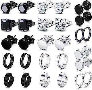 14 Pairs Earrings for Men Black Earrings Mens Earrings Stainless Steel Stud Earrings for Women Huggie Hoop Earrings Set
