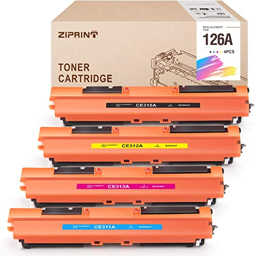 new arrival ZIPRINT Remanufactured Toner Cartridge Replacement for HP 126A CE310A CE311A CE312A CE313A Use in HP Color Laserjet Pro MFP M275 CP1025nw M175nw M275NW Laser Printer(Black Cyan discount online sale Magenta Yellow, 4-Pack) outlet online sale