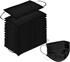 Wecolor 100 PCS Disposable 3 Ply Earloop Face Masks, Suitable for Home, School, Office and Outdoors (Black)