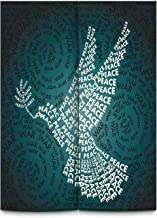 YOLIYANA War Home Decor Modern Door Curtain,Dove Symbol of Peace Words Over Stop The War Warfare Theme Abstract Art for Indoor,43''Wx59''H