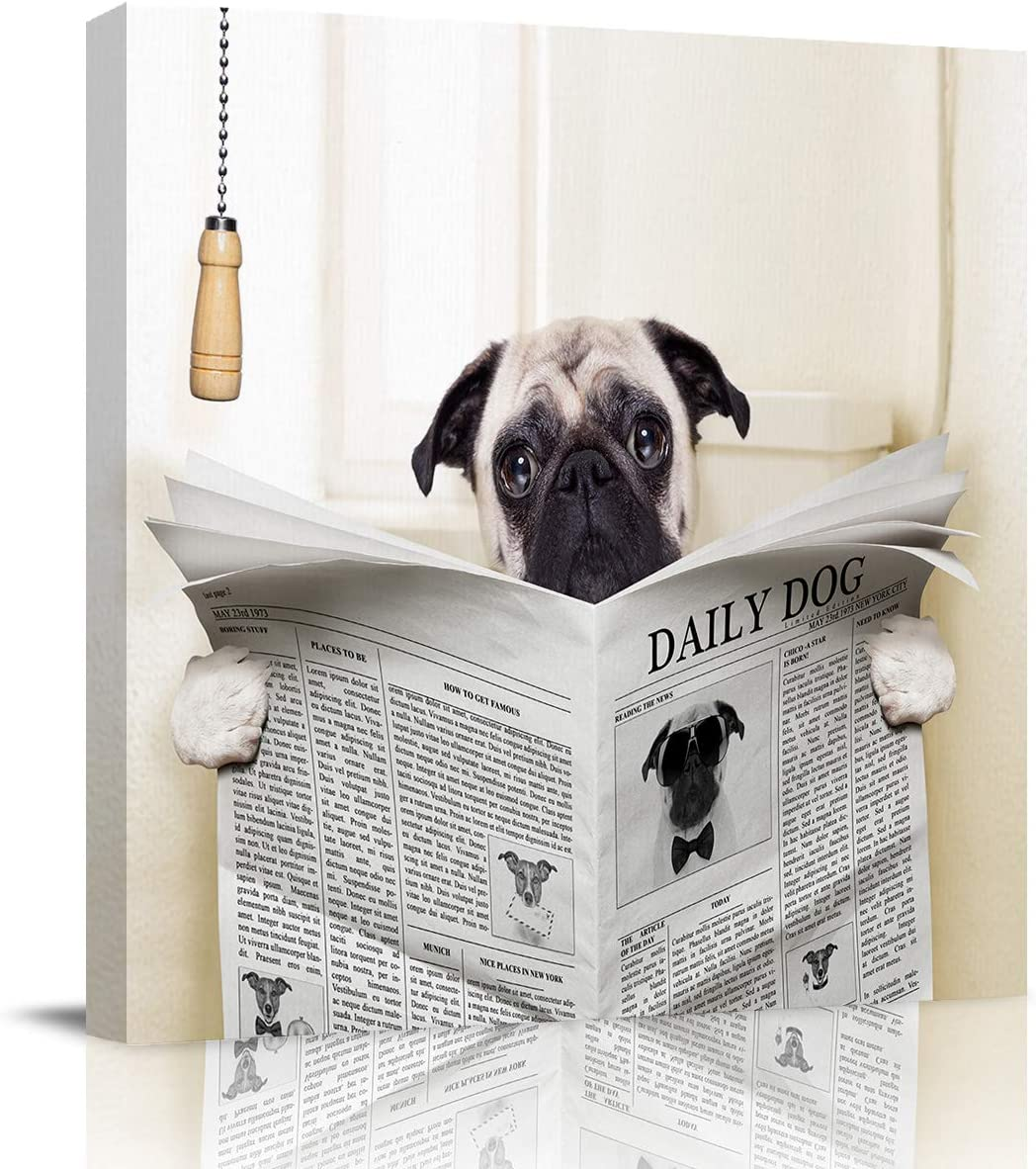 Square Oil Painting Wall Art on Decor Seattle Mall Canvas Department store Funny Pug for