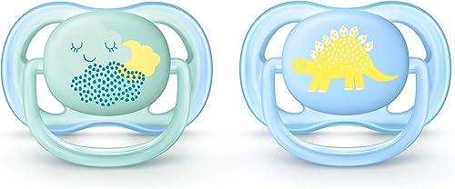 Philips Avent SCF344/20 2 sucettes ULTRA aérées - Bleu - Décor Dino - 0/6 mois