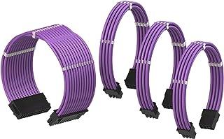 LINKUP - Cable con Manguito - Prolongación de Cable para Fuente de Alimentación con Kit de Alineadores | 1x 24P (20+4) MB | 1x 8P (4+4) CPU | 2X 8P (6+2) GPU | 50CM 500MM - Púrpura