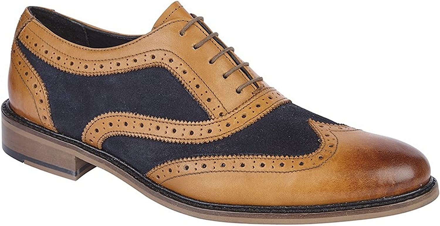 Roamer Mens Leather and Suede 5 Eye Wing Cap Oxford Brogue shoes