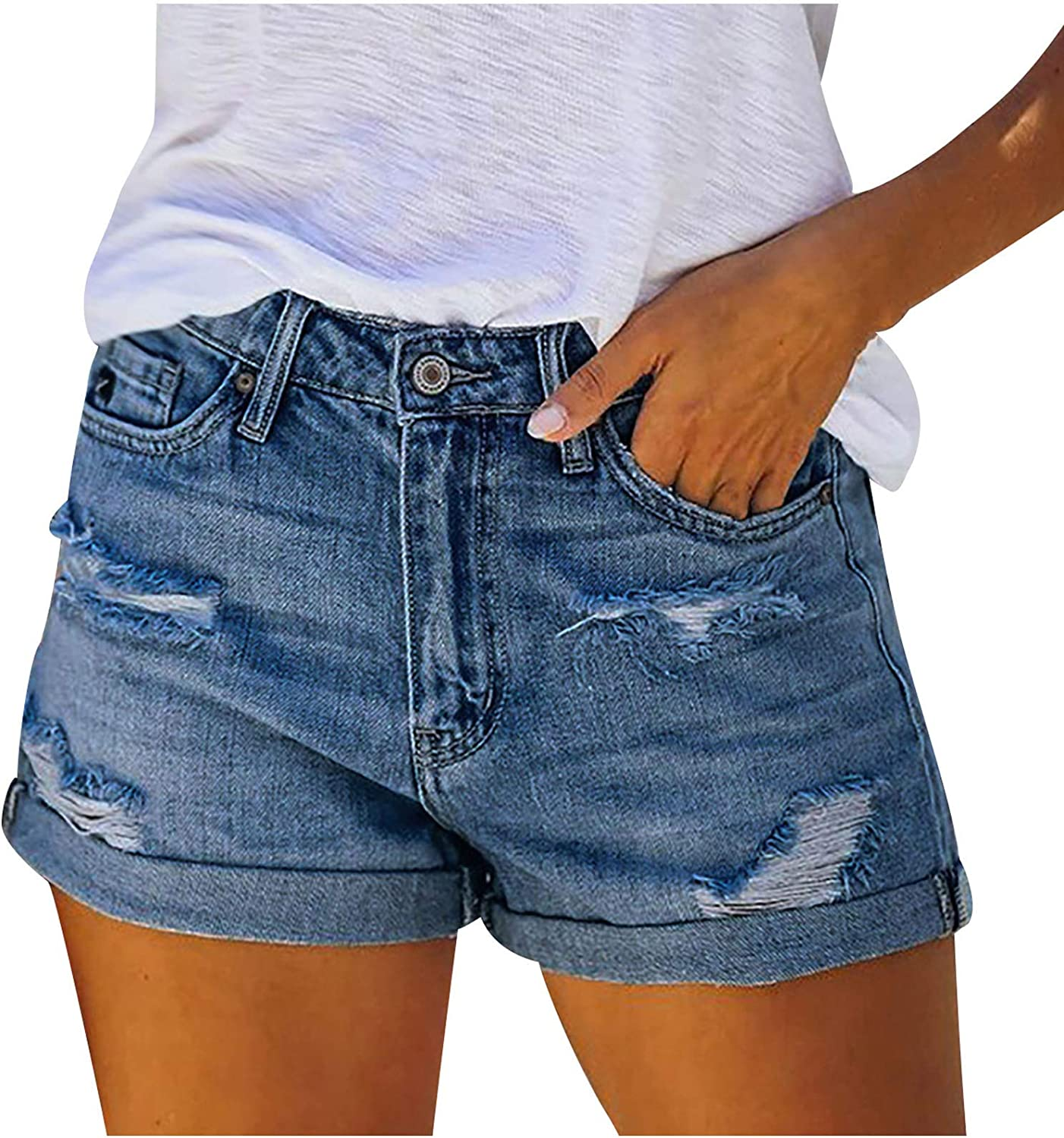 Hessimy Jean Shorts for Women,Women Frayed Hem Jeans Ripped Distressed Denim Shorts Mid Rise Cut Off Hot Shorts Blue