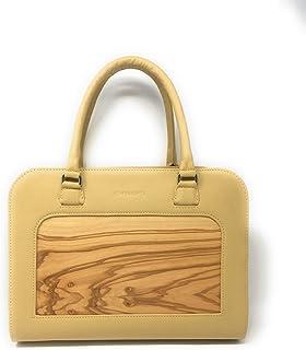 Embawo borsa donna a tracolla e a mano NENI in vera pelle italiana giallo senape e vero legno di ulivo - Qualità artigiana...