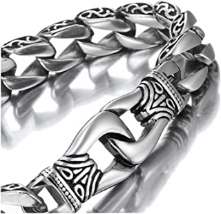 URBAN JEWELRY Amazing Stainless Steel Men's link Bracelet Silver Black 9 Inch (With Branded Gift Box)