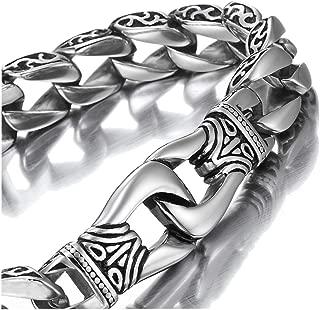 Amazing Stainless Steel Men's Link Bracelet Silver Black 9 Inch (Gift Box)