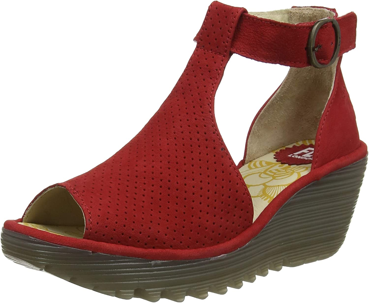 Fly London Womens Yall Cupido Cut Out Peep Toe Perforated Wedge Heels