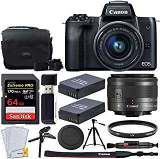 Canon EOS M50 Mirrorless Digital Camera + EF-M 15-45mm f/3.5-6.3 IS STM Lens + 64GB Memory Card + Camera/Camcorder Bag + Quality Tripod + 49mm UV Filter + 2x LP-E12 Replacement Batteries + Accessories
