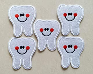 6x7cm 10pcs Dentist Tooth Smile White Red Girl Iron On Sew On Cloth Embroidered Patches Appliques Machine Embroidery Needlecraft Sewing Projects