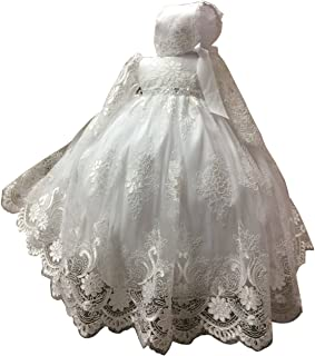 429123723d752 Dressvip Bébé Fille 2 Pièces Robe de Baptême Princesse de Cérémonie  Dentelle Enfant Manches Longues avec