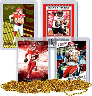 Patrick Mahomes Football Card Bundle, Set of 4 Assorted Kansas City Chiefs and Texas Tech Red Raiders Mint Football Cards Gift Set of MVP Quarterback Patrick Mahomes, Protected by Sleeve and Toploader