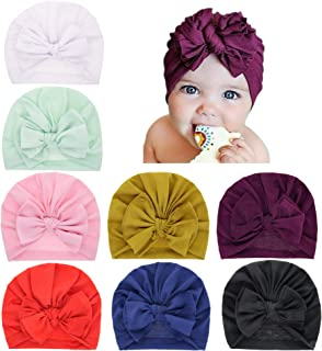 inSowni 8 Pack Nursery Turban Hat Cap Beanie Bonnet with Knot Bow for Newborns Baby Girls Toddlers Infants