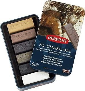 Derwent XL Charcoal Blocks, Metal Tin, 6 Count (2302009)