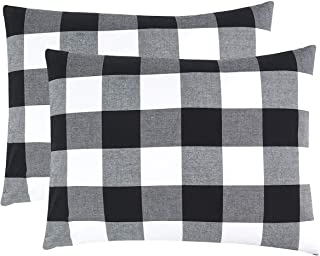Wake In Cloud - Pack of 2 Pillow Cases, 100% Washed Cotton Pillowcases, Buffalo Check Gingham Plaid Geometric Checker in White Black Gray (King Size, 20x36 Inches)