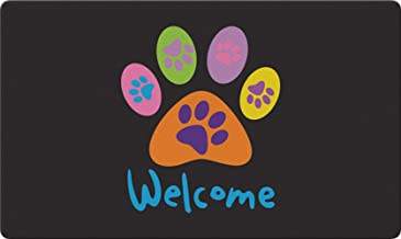 Toland Home Garden Welcome Paws Black 18 x 30 Inch Decorative Floor Mat Puppy Dog Kitty Cat Greeting Doormat