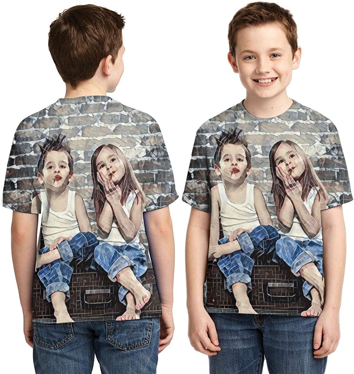 Friendship Gifts Custom T Shirts for Boys and Girls Design Your Own Front Photo Kids Tee,Birthday Gifts for Kids