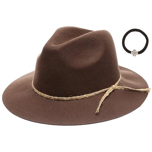 0967e6b3f6599e D&Y Women's 100% Wool Felt Cloche Short Brim Floppy Fedora Hat with Scrunchy