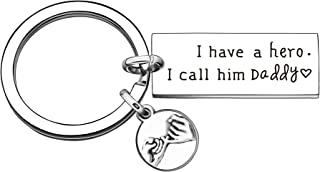 Father Keyring Gift,Silver Pendant Keychain Key Chain Ring Keyfob for Men Dad Daddy Father's Day Christmas Birthday Gift