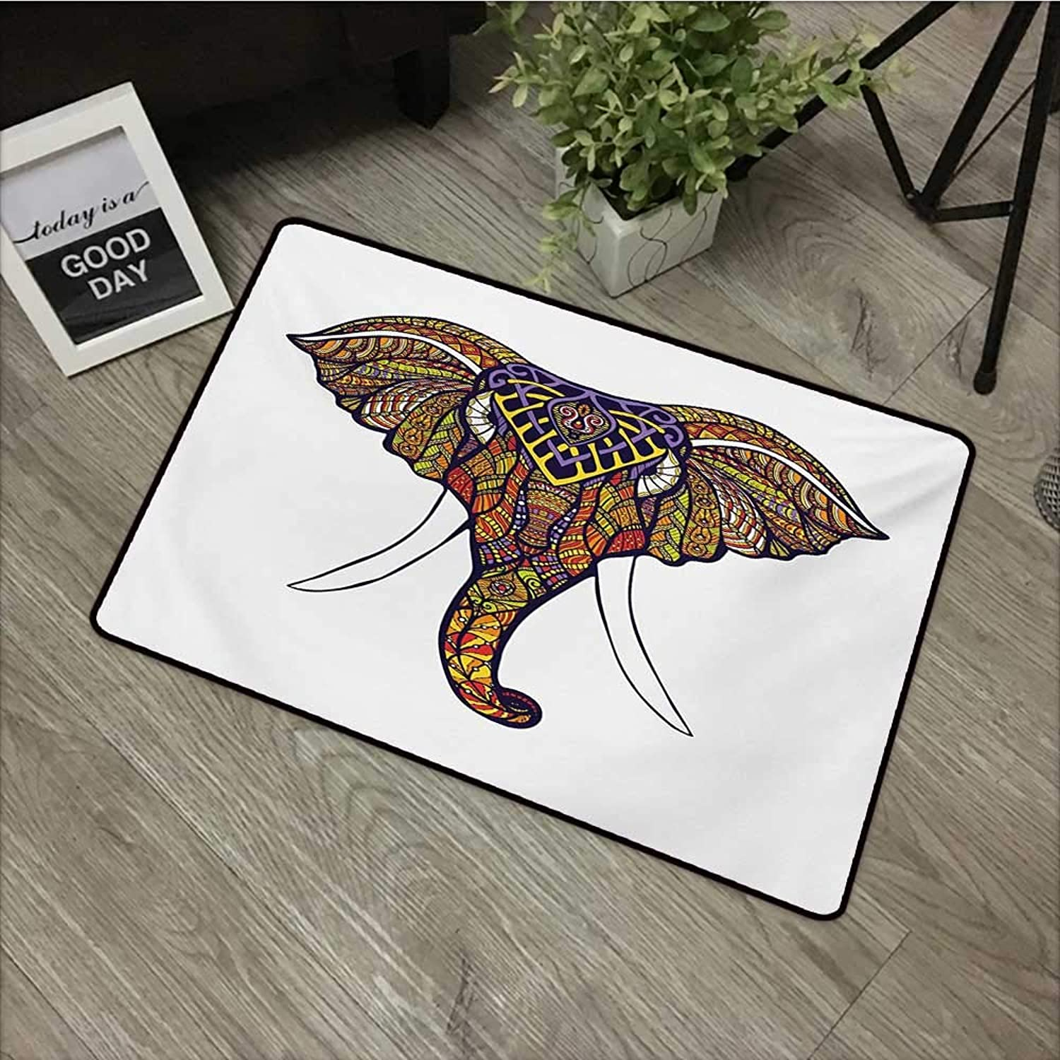 Pad W35 x L59 INCH Elephant Mandala,Elephant Head with colorful Hand Drawn Ornaments African Tribal Motifs,Multicolor Easy to Clean, Easy to fold,Non-Slip Door Mat Carpet