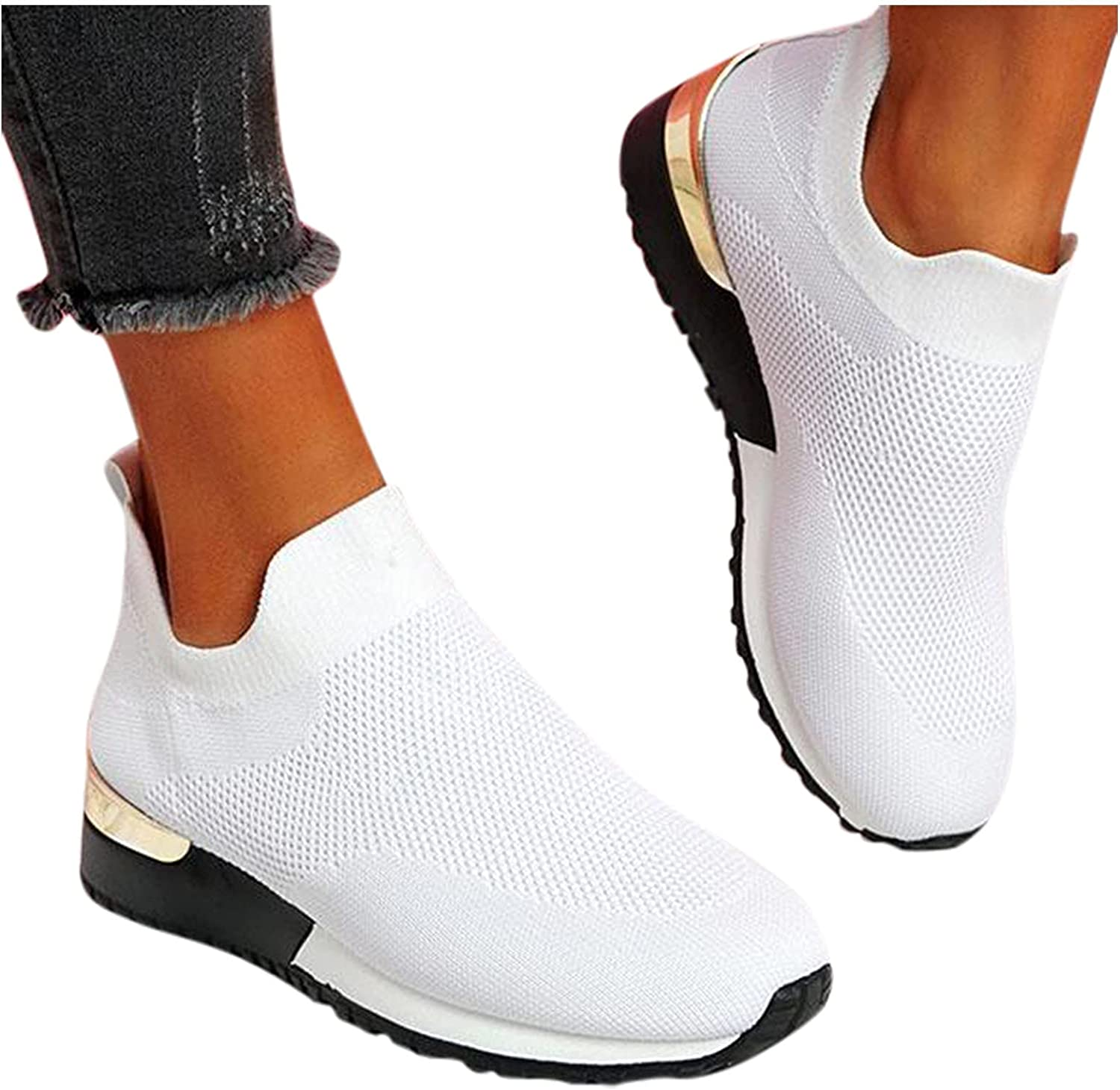 Women's Running Lightweight Breathable Casual Sports Shoes Fashion Sneakers Mesh Walking Shoes Slip On Loafers Outdoor