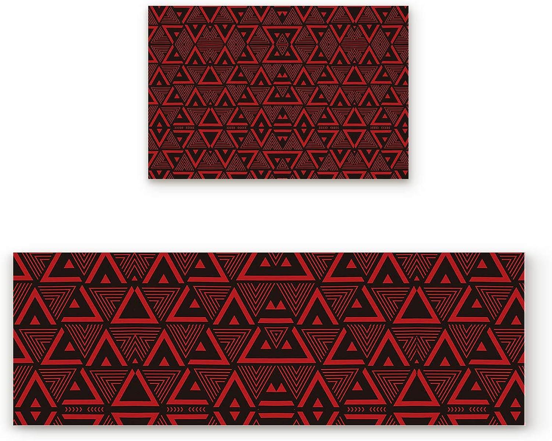 SODIKA Non Slip Kitchen Rug Set 2 Piece, Floor Mat Carpet Runner,Geometry Pattern (19.7x31.5in+19.7x63 inches)