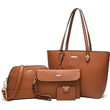 44de8bf51ad ELIMPAUL Women Fashion Handbags Tote Bag Shoulder Bag Top Handle Satchel  Purse Set 4pcs