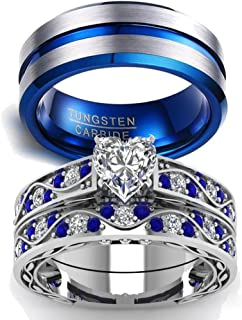 blue wedding ring sets