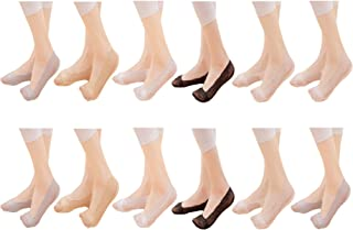 [JK レディース ]JK Ladies ソックス フットカバー レース ステルス 滑り止め 淺口 浅履き 脱げにくい 吸汗 速乾 抗菌 防臭 パンプス 靴下 6/12足セット