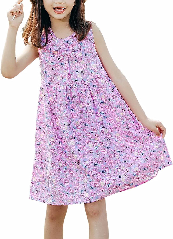 LANKMEI Little Girls' Sleeveless Floral Print A Line Dress