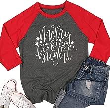 Merry Bright Shirts Tops Women Christmas 3/4 Sleeve Graphic Raglan Baseball Tee T-Shirt Tops Plus Size