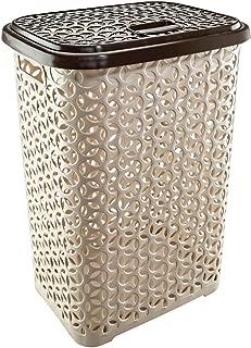 Uniware 60 LT Hollow Design Clothes Hamper Laundry Basket, Made in Turkey,White/Beige (1, Beige/Brown)