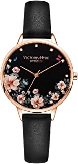 VICTORIA HYDE Women Floral Watch Flower Face Genuine Leather Strap Watches for Laides