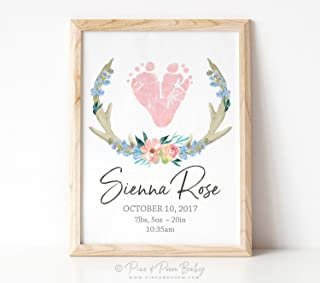 Arvier Pink Boho Nursery Girls Floral Antler Art Tribal Watercolor Birth Announcement Print Personalized Baby Footprints in Framed Wall Art