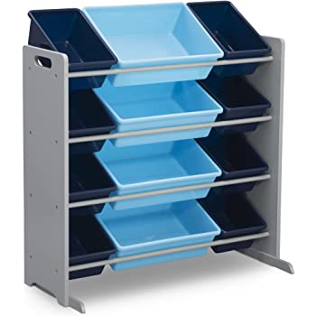Delta Children Kids Toy Storage Organizer with 12 Plastic Bins, Grey/Blue, Grey/Blue