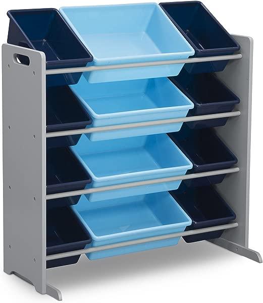 Delta Children Kids Toy Storage Organizer With 12 Plastic Bins Grey Blue Grey Blue