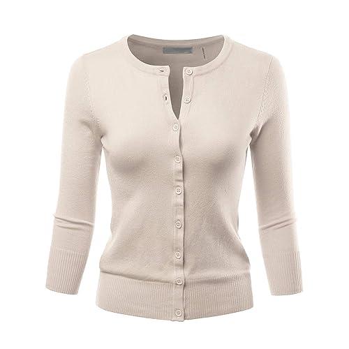 LALABEE Women s 3 4 Sleeve Crewneck Button Down Knit Sweater Cardigan (S~3XL 64039b657