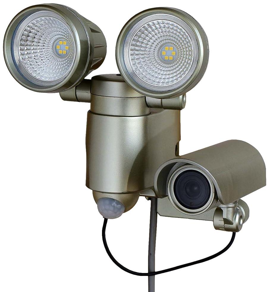 ピラミッド先入観生【Amazon.co.jp限定】高儀 LEDセンサーライト ダブル 6W×2 メタリックゴールド 録画機能付 防犯用品 ASLT-6MG