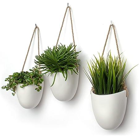 Kazai. | Pot Céramique pour Plantes Suspendues | Lot de 3 | Décoration Murale (Standard, Blanc | Mat)