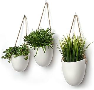 comprar comparacion Kazai.® | Set de 3 floreros de cerámica | Blanco Mate
