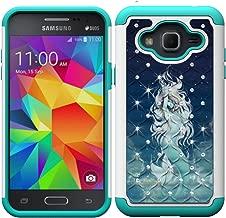 Galaxy J3 Case, J3 (2016) Case, MagicSky [Shock Absorption] Studded Rhinestone Bling Hybrid Dual Layer Armor Defender Cover for J3, J3 (2016), J3 V, Express Prime, Amp Prime, Galaxy Sky - Mermaid