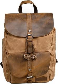 Neuleben Vintage Wasserdicht Rucksack Daypack aus Canvas Leder Damen Herren für Reise Outdoor Schule Braun